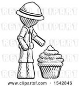 Clip Art of Retro Explorer Guy with Giant Cupcake Dessert by Leo Blanchette