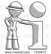 Clip Art of Retro Explorer Guy with Info Symbol Leaning up Against It by Leo Blanchette