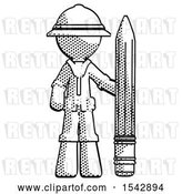 Clip Art of Retro Explorer Guy with Large Pencil Standing Ready to Write by Leo Blanchette