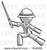 Clip Art of Retro Explorer Guy with Ninja Sword Katana in Defense Pose by Leo Blanchette