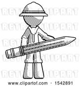 Clip Art of Retro Explorer Guy Writer or Blogger Holding Large Pencil by Leo Blanchette