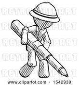 Clip Art of Retro Explorer Guy Writing with a Really Big Pen by Leo Blanchette