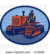 Clip Art of Retro Farmer Driving a Tractor by Patrimonio