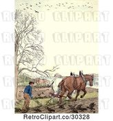 Clip Art of Retro Frame of a Guy and Horses Ploughing by Prawny Vintage
