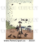 Clip Art of Retro Frame of Crows Around a Scarecrow by Prawny Vintage