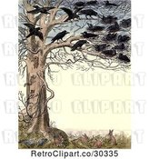 Clip Art of Retro Frame of Crows in a Tree over Rabbits and Pigeons by Prawny Vintage
