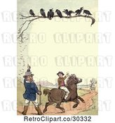 Clip Art of Retro Frame of Crows over Hunters by Prawny Vintage