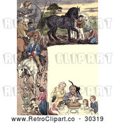 Clip Art of Retro Frame of Dining People and Horses by Prawny Vintage
