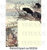 Clip Art of Retro Frame of Nesting Crows over a Village by Prawny Vintage