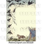 Clip Art of Retro Frame of Shooters Killing Crows by Prawny Vintage
