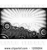 Clip Art of Retro Funky Grayscale Background of Rays and Circles by Arena Creative