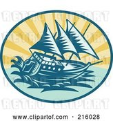 Clip Art of Retro Galleon Ship Logo by Patrimonio