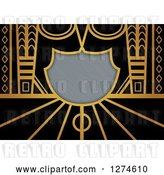 Clip Art of Retro Gold and Black Art Deco Background with Brushed Silver Metal Shield Text Space by Prawny