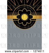 Clip Art of Retro Gold and Black Art Deco Daisy Flower Background with Brushed Silver Metal Text Space by Prawny