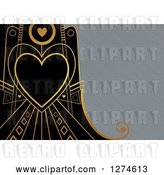 Clip Art of Retro Gold and Black Art Deco Heart Valentine Background with Brushed Silver Metal Text Space by Prawny