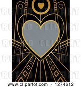 Clip Art of Retro Gold and Black Art Deco Heart Valentines Day Background with Brushed Silver Metal Text Space by Prawny