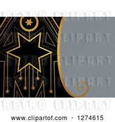 Clip Art of Retro Gold and Black Art Deco Star Background with Brushed Metal Text Space by Prawny