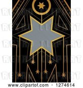Clip Art of Retro Gold and Black Art Deco Star Background with Brushed Silver Metal Text Space by Prawny