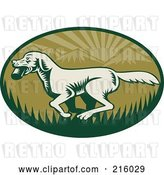 Clip Art of Retro Green Fetching Dog Logo by Patrimonio
