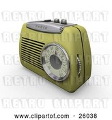 Clip Art of Retro Greenish Yellow Radio with a Station Dial, on a White Surface by KJ Pargeter