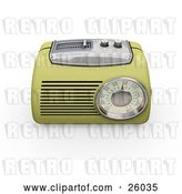 Clip Art of Retro Greenish Yellow Radio with a Station Tuner, on a White Background by KJ Pargeter