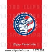 Clip Art of Retro Greeting Card Design with an American Calvary Soldier Blowing a Bugle and the Land of the Brave&Home of the Free, Happy Patriot's Day Text on Red by Patrimonio