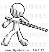 Clip Art of Retro Guy Bo Staff Action Hero Kung Fu Pose by Leo Blanchette