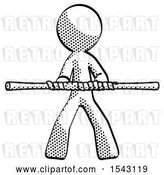 Clip Art of Retro Guy Bo Staff Kung Fu Defense Pose by Leo Blanchette