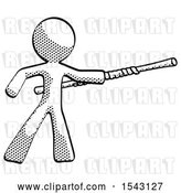 Clip Art of Retro Guy Bo Staff Pointing Right Kung Fu Pose by Leo Blanchette