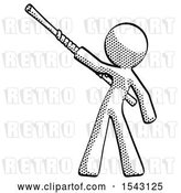 Clip Art of Retro Guy Bo Staff Pointing up Pose by Leo Blanchette