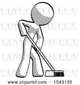 Clip Art of Retro Guy Cleaning Services Janitor Sweeping Side View by Leo Blanchette