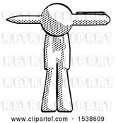 Clip Art of Retro Guy Head Impaled with Pen by Leo Blanchette