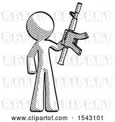 Clip Art of Retro Guy Holding Automatic Gun by Leo Blanchette