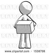Clip Art of Retro Guy Holding Box Sent or Arriving in Mail by Leo Blanchette