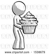 Clip Art of Retro Guy Holding Large Cupcake Ready to Eat or Serve by Leo Blanchette