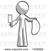 Clip Art of Retro Guy Holding Large Steak with Butcher Knife by Leo Blanchette