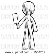 Clip Art of Retro Guy Holding Meat Cleaver by Leo Blanchette