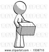 Clip Art of Retro Guy Holding Package to Send or Recieve in Mail by Leo Blanchette