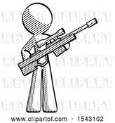 Clip Art of Retro Guy Holding Sniper Rifle Gun by Leo Blanchette
