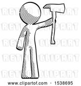 Clip Art of Retro Guy Holding up Red Fireman's Ax by Leo Blanchette