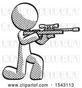 Clip Art of Retro Guy Kneeling Shooting Sniper Rifle by Leo Blanchette