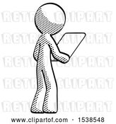 Clip Art of Retro Guy Looking at Tablet Device Computer Facing Away by Leo Blanchette