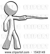 Clip Art of Retro Guy Pointing with Hiking Stick by Leo Blanchette