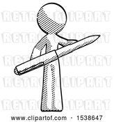 Clip Art of Retro Guy Posing Confidently with Giant Pen by Leo Blanchette