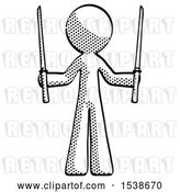 Clip Art of Retro Guy Posing with Two Ninja Sword Katanas up by Leo Blanchette