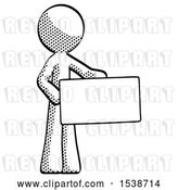 Clip Art of Retro Guy Presenting Large Envelope by Leo Blanchette