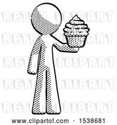 Clip Art of Retro Guy Presenting Pink Cupcake to Viewer by Leo Blanchette