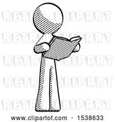 Clip Art of Retro Guy Reading Book While Standing up Facing Away by Leo Blanchette