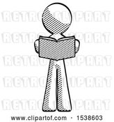 Clip Art of Retro Guy Reading Book While Standing up Facing Viewer by Leo Blanchette