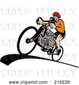 Clip Art of Retro Guy Riding a V8 Engine Bicycle by Patrimonio